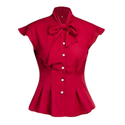 NCCIYAZ Womens Shirt Tie Bow Elegant Button Ruffle Cap Sleeve Top Ladies Office Work Daily Blouse(L(6),Red)