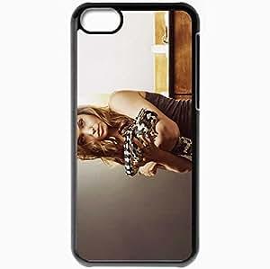 Personalized iPhone 5C Cell phone Case/Cover Skin Angelina Jolie Snake Photo Shoot Glamor Seduction Black
