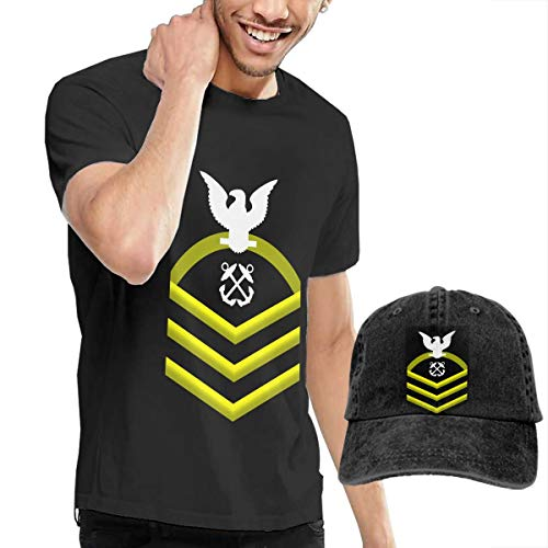 (KFR&KNED Navy Chief Petty Officer Shoulder Patch Rate Insignia Gold Mens Casual Short Sleeve Tee and Washed Denim Hat)