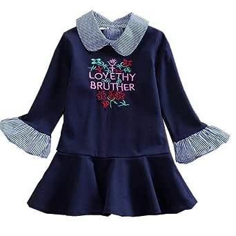 Princess Van Letter Embroidered Lapel Girl Long Sleeve Dress