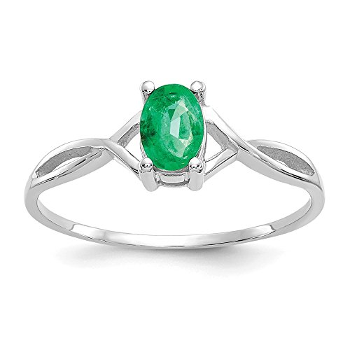 14k White Gold Green Emerald Birthstone Band Ring