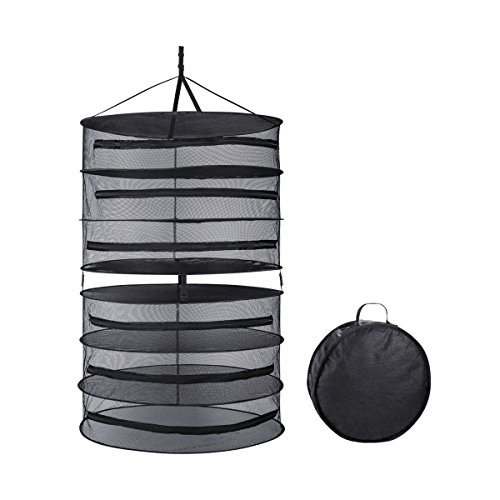 Dry Garden Herbs - Growtent Garden Collapsible Hanging Dry net for Herb Drying with Sturdy and Durable Equality in 3ft 6 Layer
