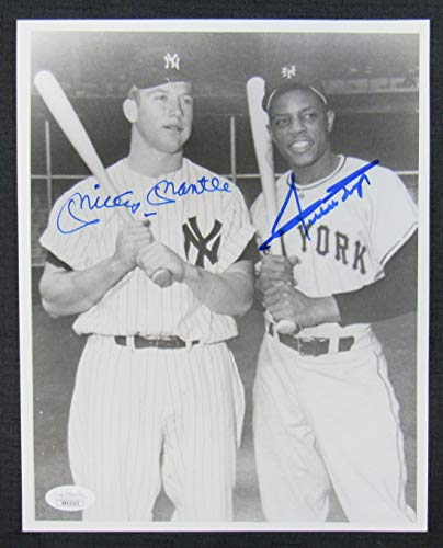 - Mickey Mantle Willie Mays Signed Auto Autograph 8x10 Photo JSA BB02523