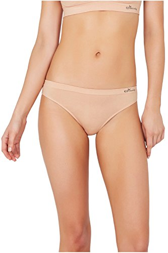 Boody Body EcoWear Women's G-String Seamless Thong G String Underwear Made from Natural Organic Bamboo Viscose - Soft Breathable Eco Fashion for Sensitive Skin - Nude, Large, Two Pack (Best Fabric For Women's Underwear)