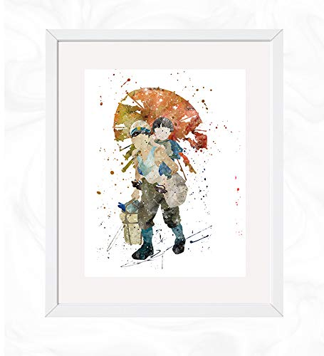 Seita carrying Setsuko Prints, Grave of the Fireflies Watercolor, Nursery Wall Poster, Holiday Gift, Kids and Children Artworks, Digital Illustration Art