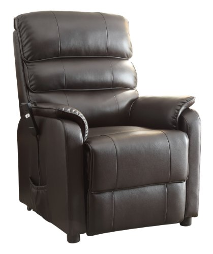 Homelegance Kellen Power Lift Bonded Leather Recliner, Dark Brown