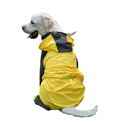 813 Six Light - ZDJR Large Dog Raincoat, Puppy Doggy Jumpsuit Hoodie Jacket, Ultra-Light Breathable 100% Waterproof Rain Jacket, Four Legs Rain Coats,26