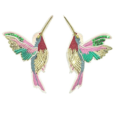 Poly Leather Band (Toonol 1 Pair 3D Paillette Sequin Embroidery Birds Patch Applique Sew On Clothes Shirt Docarate Accessory Patchwork Diy)