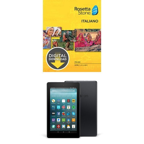 """Rosetta Stone Italian Level 1-5 Set [Download] and Fire 7 Tablet with Alexa, 7"""" Display, 8 GB, Black - with Special Offers"""