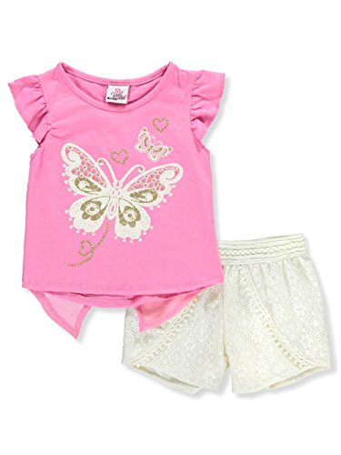 Piece Eyelets 12 (Real Love Big Girls' 2-Piece Short Set Outfit - Pink/Multi, 10-12)