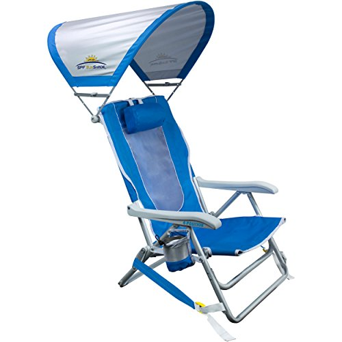 (GCI Outdoor Waterside Reclining Portable Backpack Beach Chair with Sunshade)