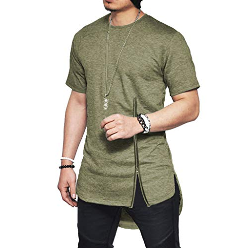 (Men's Short Sleeves Cotton Blouse Side Split T-Shirt Summer New Chest Zipper Top Army Green )