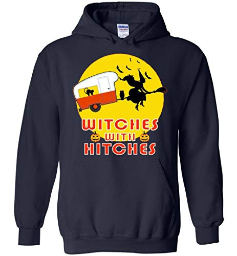 Witches with Hitches Funny Halooween Gift Idea Hoodie Navy -