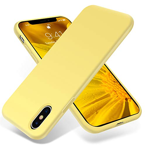 for iPhone X Case ONLY, OTOFLY [Silky and Soft Touch Series] Premium Soft Silicone Rubber Full-Body Protective Bumper Case Compatible with Apple iPhone X(ONLY) - Yellow