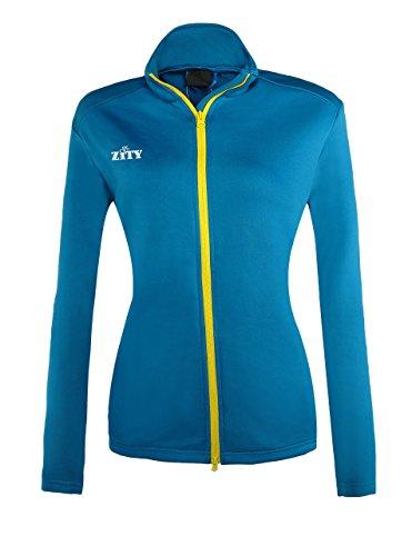 Women's Full Zip Fleece Sweatshirt Blue Large by ZITY
