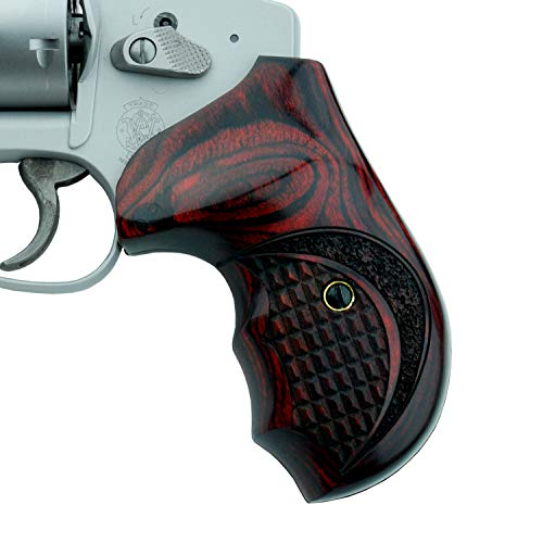 Altamont - S&W J Round Revolver Grips - Bateleur - Real Wood Gun Grips fit Smith & Wesson J Frame Round Butt .38 Special and 9mm Revolvers - Made in USA - Rosewood - Crocback