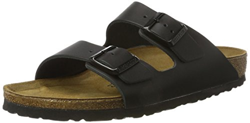 BIRKENSTOCK Women's 51191 Arizona Leather Sandals, Shiny Black, 40