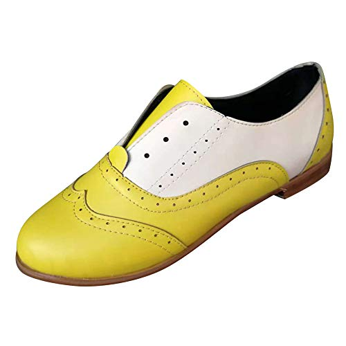 Emma Yellow High Heel Boots - Women Oxford Shoes,Dacawin Female Vintage Leather