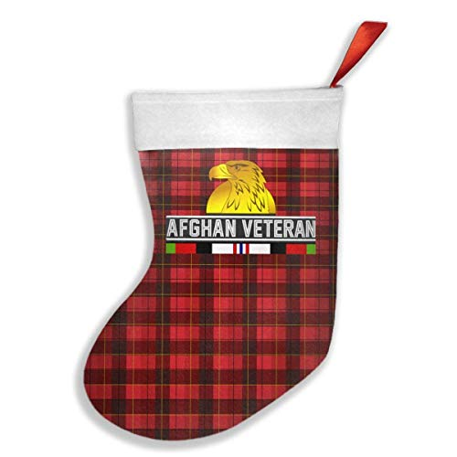 cking Classic Afghan Veteran Buffalo Plaid Santa Claus White Cuffs Red Loop Merry Christmas Hanging Decorations ()