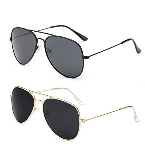 YOSHYA Sunglasses for Men Women Aviator Polarized Metal Mirror UV 400 Lens Protection (Black Grey+Gold Grey)