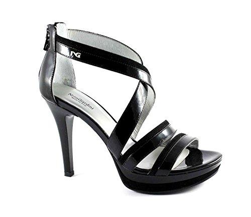 BLACK JARDINES 15750 talón negro mesetas del talón del zapato zip Nero