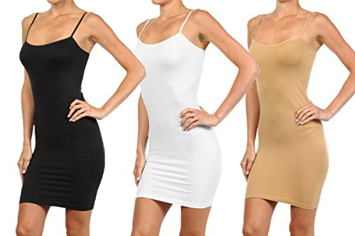 Fitted Stretch Camisole (3 Pair Pack - Women's Seamless Long Camisole Slip Dress (Black/White/Suntan, One Size Plus))
