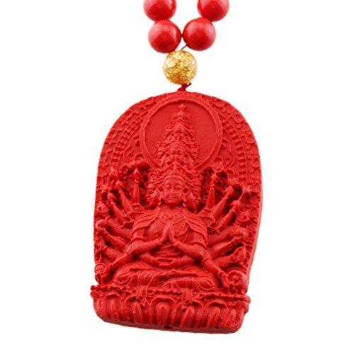 FOY-MALL Cinnabar Guardians of 12 Zodiac Rat Thousand-Hand Kwan-yin Pendant Necklace XL1341