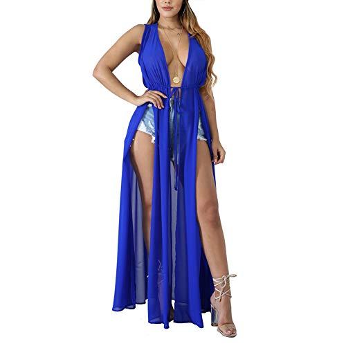 - Chiffon Cardigan Swimsuit Cover up - Women's Sleeveless See Through Slit Long Maxi Beach Dress with Belt Blue XXL