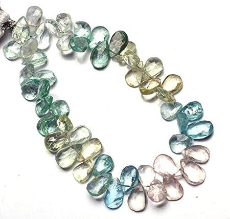 9 Strand Stone Size - 8x6-11x6 MM For jewelry Making Loose Gemstone. Natural Multi Aquamarine Smooth Pear Shape Briolettes Gemstone