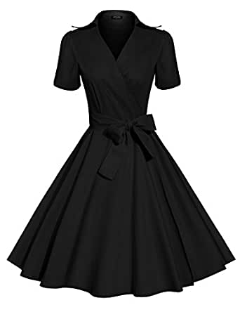 ACEVOG Women's Scoop Neck Elengant Bow Vintage Casual Evening Dress With Bow Belt