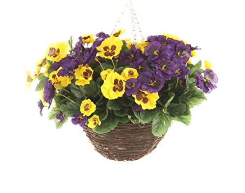 Closer2Nature Artificial Yellow and Purple Pansy Display in a 10
