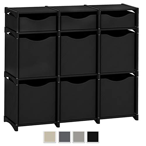 Neaterize 9 Cube Organizer | Set of Storage Cubes Included | DIY Cubby Organizer Bins | Cube Shelves Ladder Storage Unit Shelf | Closet Organizer for Bedroom, Playroom, Livingroom, Office (Black) (Storage Cube Closet)