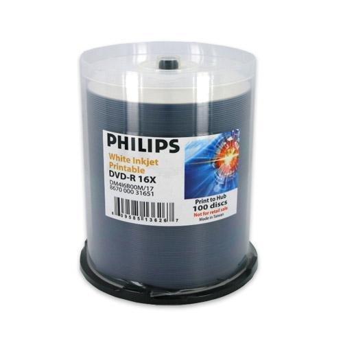 Philips DVD-R Duplication Grade White Inkjet Hub Printable 16X Media 100 Pack in Cake Box (DM416B00M/17) Memories Cake Box