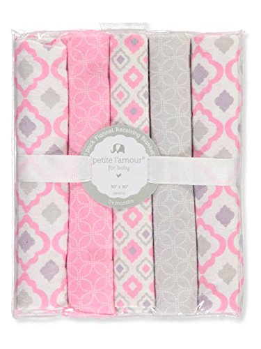 Petite L'amour 5-Pack Flannel Receiving Blankets - pink, one ()