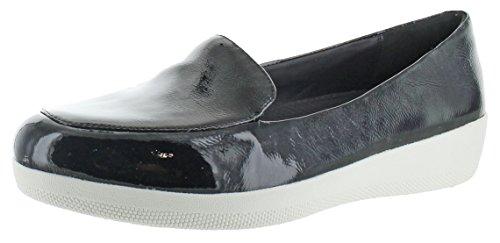 Fitflop Sneakerloafer Femmes Slip Sur Les Chaussures Chaussures Noir Brevet