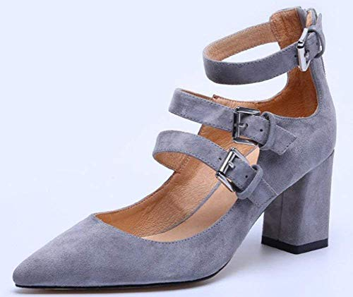 Gris Femmes Hauts Oudan coloré Talons Pour Taille Qui 39 Chaussures Travaillent Les Seules Dermique Gris qa64E