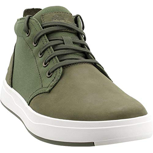 Mens Nubuck Shoes - Timberland Mens Davis Square Chukka Dark Green Nubuck Boot - 9