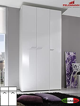 Kleiderschrank weiß hochglanz 3 türig  Kleiderschrank Schlafzimmerschrank 55045 3-türig weiß Hochglanz ...