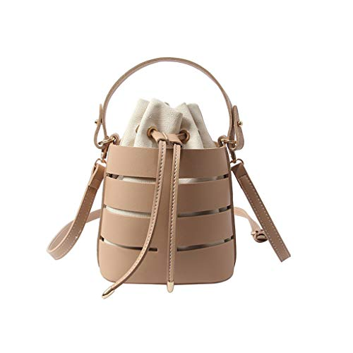 Hollow Shoulder Bag - ✔ Hypothesis_X ☎ Women's Multi-Function Bag Multi-Layer Handbag Cylindrical Bucket Bag Khaki