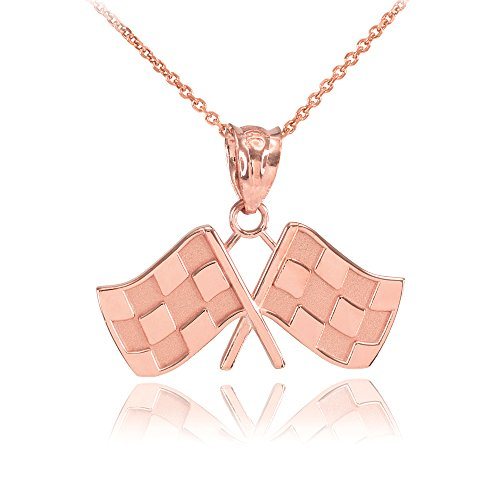 14k Rose Gold Racing Flags Charm Pendant Necklace, 22
