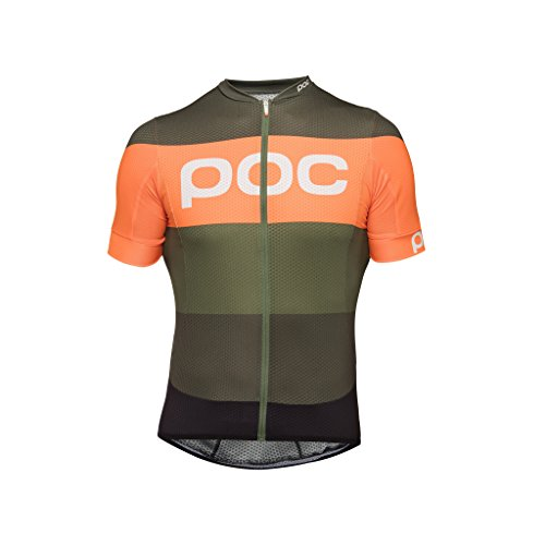 POC Essential Road Logo Jersey, Short Sleeve Cycling Jersey, Pentlandite Multi Green, XL by POC