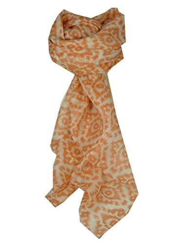 Echarpe Premier Qualité Gamme Contemporary 100% Soie de Mûrier Motif Eshi en Terracotta par Pashmina & Silk