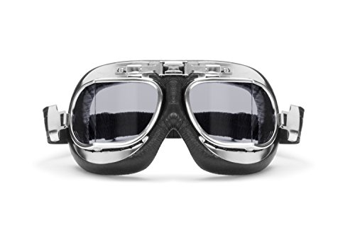 Vintage Motorcycle Goggles with Antifog and Anticrash Squared Lenses - Chromed Steel Frame- by Bertoni Italy - AF193CRS Motorbike Aviator Glasses (Black - Light Smoked Lens) by Bertoni