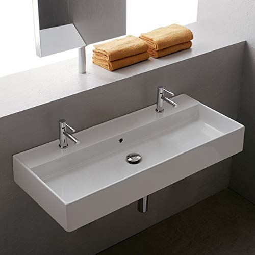 Scarabeo 8031 R-100B-Two Hole Teorema Rectangular Ceramic Wall Mounted Vessel Sink, White