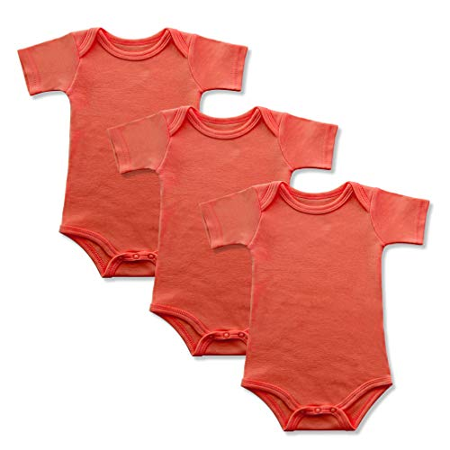 - GLEAMING GRAIN 3-Pack Soft Cotton Newborn Boys Bodysuit Short Sleeved Colored Baby Onesie (3M, Orange)