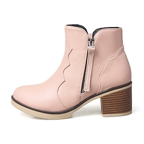 AgooLar Women's Soft Material Zipper Round Closed Toe Kitten Heels Low-Top Boots Pink RyNHOp