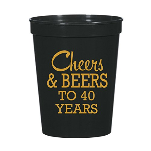 Cheers and Beers to 40 Years 40th Birthday Party Stadium Cups 40th Party Favors