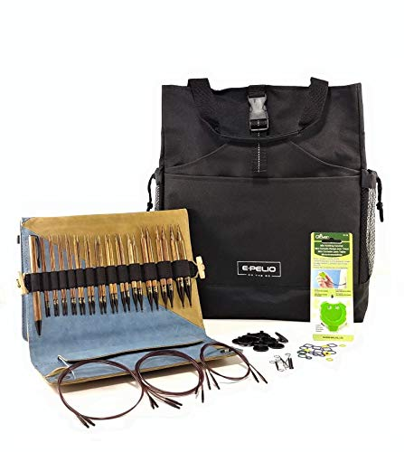 Knitter's Pride Ginger Interchangeable Knitting Needles Circular Bundle Set-3 items: Needle Kit and Accessories, ePelio Yarn Bag for Notions Storage/Organizer & Clover Stitch Counter Tool for Knitters