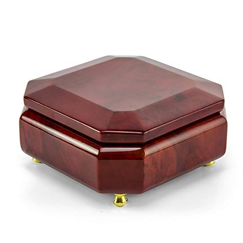 Astonishing Beveled Octagonal Wood Classic Style Music Jewelry Box - Over 400 Song Choices - Stand 8y ()