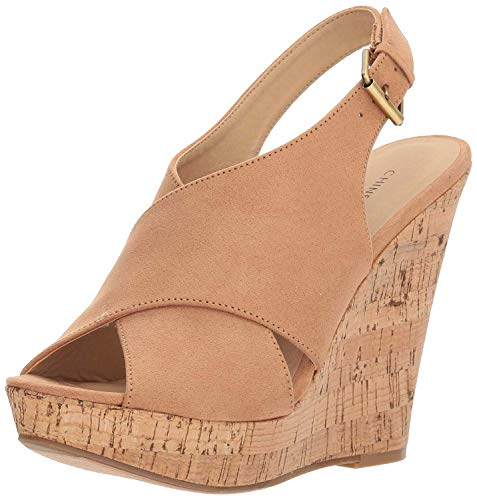 - Chinese Laundry Women's Myya Micro Suede Wedge Sandal, Camel Suede, 8 M US